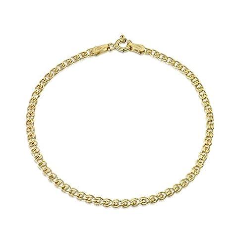Amberta® Bijoux - Bracelet - Chaîne Argent 925/1000 - Plaqué Or 18K - Maille Cœur - Largeur 2.3 mm - Longueur 18 19 20 cm (18cm)