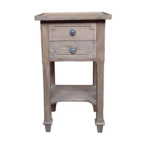 2 Schublade Nachttisch Holz-finish (Französischer Vintage-Stil, aus Holz, mit 2 Schubladen, Nachttisch: Esche-Finish)