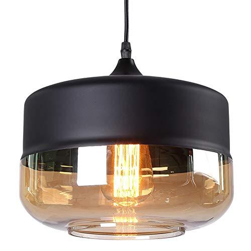 FANXL Moderne Schwarz Hängeleuchte Glas Schüssel Schatten Pendelleuchte Schlafzimmer Wohnzimmer Küche Pendellampe Minimalistischen Persönlichkeit Hängelampe - Glas Schüssel-schatten