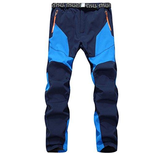 Pantalones de Trekking Hombre Pantalones de Softshell Pantalones Transpirable de Escalada Pantalones Impermeable Deportes Calentar Invierno Grueso Táctico Pantalones Xinan (M, Azúl)