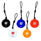 NFC21 - Lote de 5 llaveros con chip NFC (888 bytes, 30 mm, NTAG 216, compatible con dispositivos NFC)