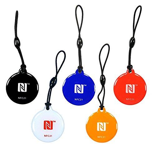 5 badges NFC Porte-clés Style | NTAG 216 | 888 Byte |5 couleurs |