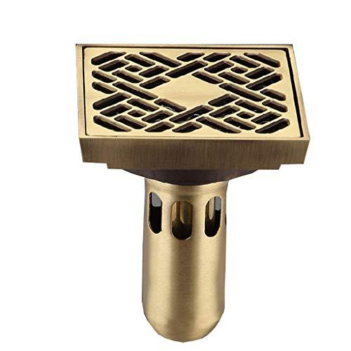 DL Bodenablauf Kupfer Bodenablauf Bodenbelag Deodorant Bodenablauf, 10X10Cm, Bronze, Kupfer, A: 10 * 10 cm -