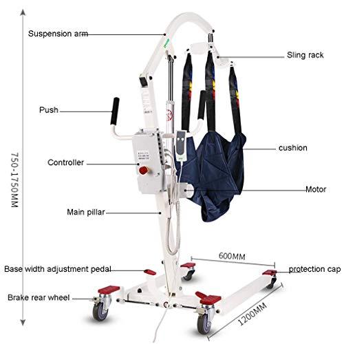 41LWC2xno8L - YXP Grúa Eléctrica para Pacientes con Cable de alimentación de 3 m, Capacidad de Peso de 450 LB, con Eslinga de Malla Completa Mediana