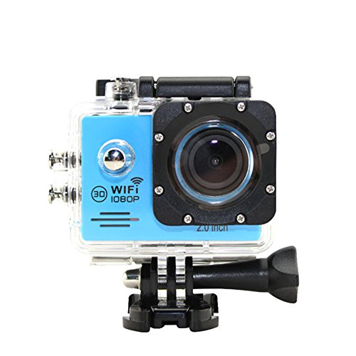 Action Camera Wifi Waterproof Camcorders 12MP 1080P Ultra HD Cam with UnderWater 30M/98ft 2.0'' LCD Screen and 170 Degree Wide Angle Lens(Blue)