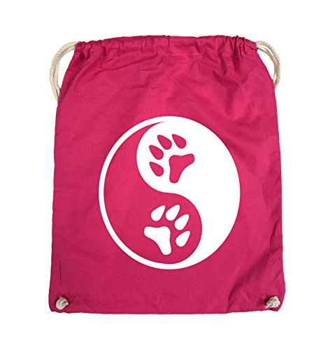 Comedy Bags - YING YANG - PFOTE2 - Turnbeutel - 37x46cm - Farbe: Schwarz / Pink Pink / Weiss