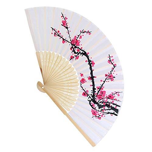 ächer Chinesisch/Japanisch Vintage Retro Silk Bambuspflaume Seidenfächer, Klassische Faltfächer, für Hochzeit, Kirche, Party, Geschenke ()
