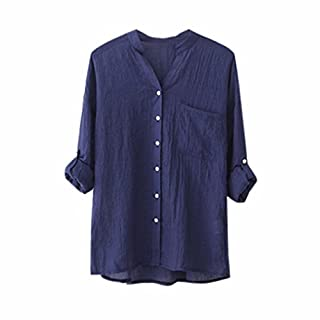 DAYSEVENTH Women Cotton Linen Solid Long Sleeve Shirt Casual Loose Blouse Button Down Tops Blue