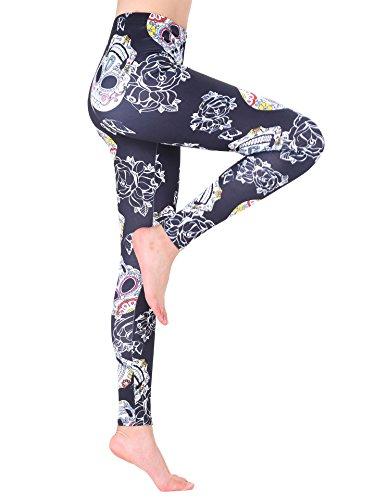 AMORETU Femmes Stretch Multicolore Imprimé Fitness Gym Leggings Pantalon Noir