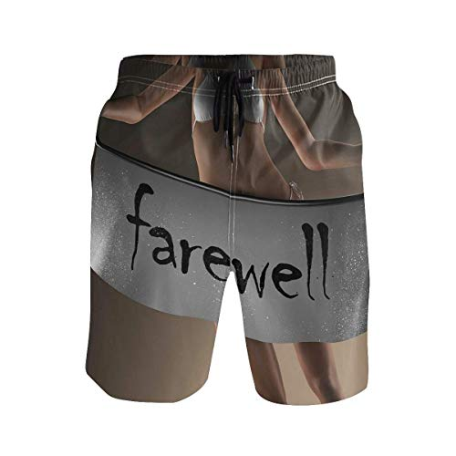 Men's Summer ShortsSexy Bikini Model Woman Holding Farewell Word On Bann,Size:M
