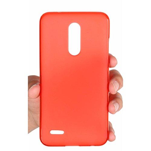 MISEMIYA - LG K11 / LG K10 2018 Hüllen Taschen - Hüllen + Displayschutzfolie KOMPLETT (Black) gehärtetes Glas, TPU-Trans,Rot