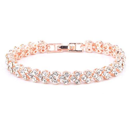VJGOAL Damen Armband, Frauen Mädchen Geschenk der Frau Valentinsgrußes Mode IM Römischen Stil Kristall Diamant Armbänder Geschenke (16.5CM, Roségold)