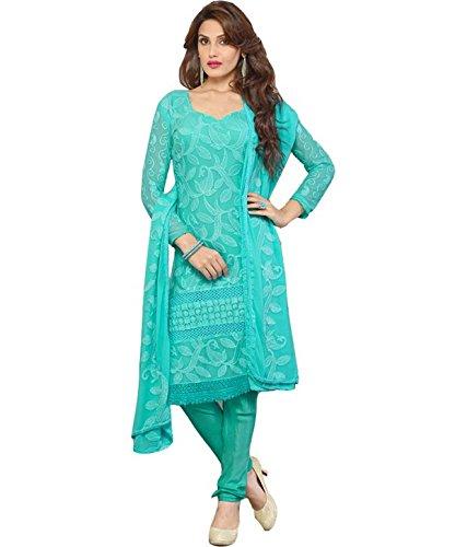 sky color Embroidered anarkali-salwar-kameez