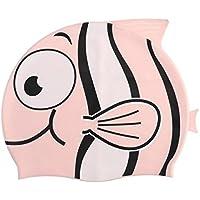 Tinksky Peces de dibujos animados en forma de silicona natación sombrero del casquillo del baño para niños (rosa)