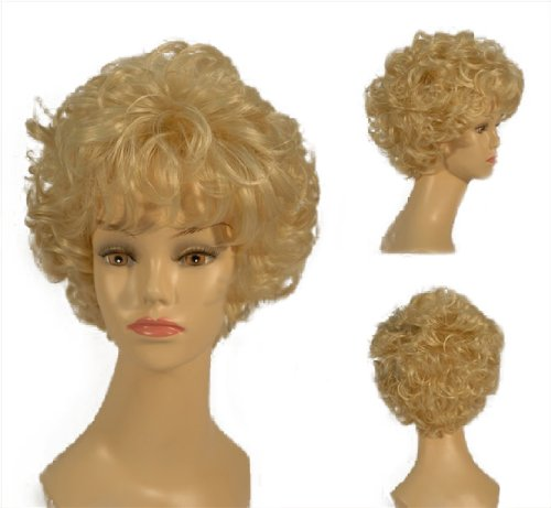NEW fashion HOT sexy short light Blonde Curly Wavy Full wigs Hair wigs for girls and women 8