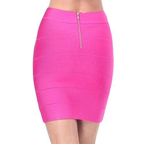 HLBandage Womens Ladies Ribbed Panel Stretch Mini Bandage Skirt Rosa