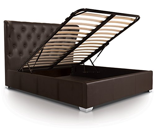 Otto-Garrison Opulent Tall Contemporary Tufted/Buttoned Luxury Leather Style Extra Storage Ottoman Bed, King Size, Brown with Faux Leather
