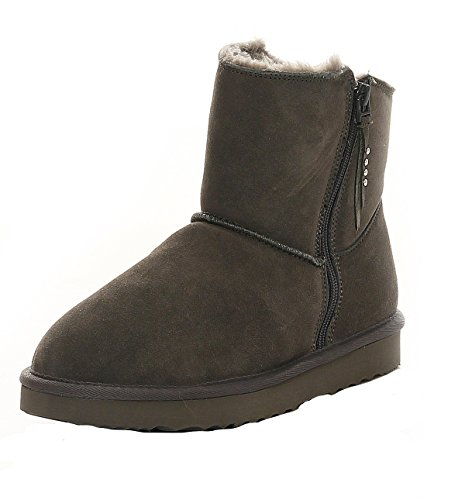 LOCO GERMANY SKUTARI - Wildleder Damen Frauen Winter-Boots | Extra Weich & Warm Gefüttert | Schlupf-Stiefel mit Stabiler Sohle | Pailletten Glitzer Meliert Zipper (Snake Leather Stiefel)