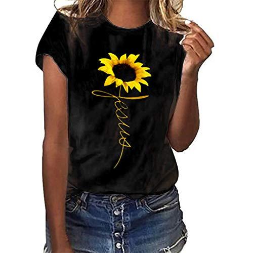 Oversize Shirt Oberteile für Damen,Dorical Frauen Sommer T-Shirt O-Ausschnitte Loose Sonnenblume Drucken Kurzarm Shirts Bluse Tops S-3XL Rabatt(Schwarz,Small)