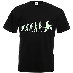 lepni.me T-Shirt pour Hommes évolution de Motocross, Chemise de Moto, vêtements de Course de Moto, Moto Hors Route (X-Large Noir Fluorescent)