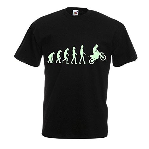 Männer T-Shirt Motocross-Entwicklungs-Schmutz-Fahrrad, Motorrad-Gang, laufende Abnutzung, Motorrad Weg von Roading (X-Large Schwarz Fluoreszierend)