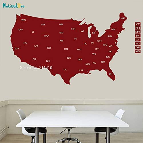 zhuziji Detaillierte Karte Vinyl Wandaufkleber Karte Der Usa Wandbild Moderne Landhaus Dekoration Wohnzimmer Abnehmbare Kunst Aufkleber rot 101x56 cm - Karte Der Usa-wand-kunst