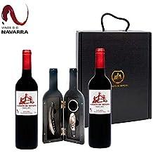 8d1caab32 Caja Regalo Vino - Pack de 2 Botellas de Resevas + Kit Accesorios con  Abrecorchos Aireador y Anillo Antigoteo con estuche - Regalo Original –  D.Origen Olite ...