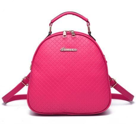 HQYSS Borse donna PU cuoio coreano Casual ovale in rilievo tinta unita studentesse zaino tracolla Messenge Tote Bag , pink rose red
