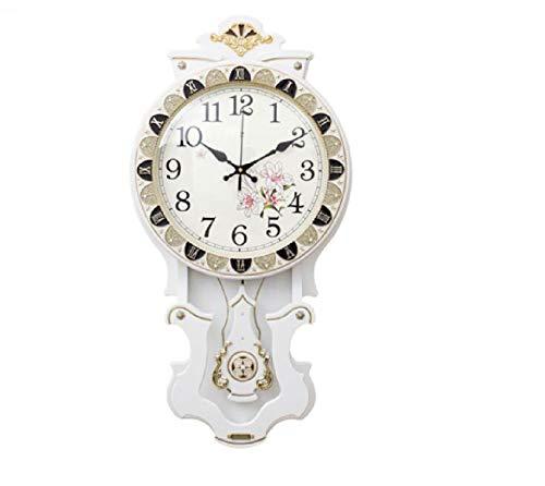 Qwertyiopoh Estilo salón Comedor Reloj de Madera Retro Creativo Reloj de Pared Mute Dormitorio Reloj Mesa Antiguo Reloj de Cuarzo 16 Pulgadas (Color : Blanco)