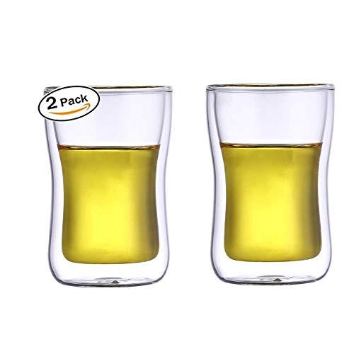 HwaGui Doppelglasbecher Becher für Home Bar Party, Bierglas Doppelwand Whisky Wein Wasser 300ml /...