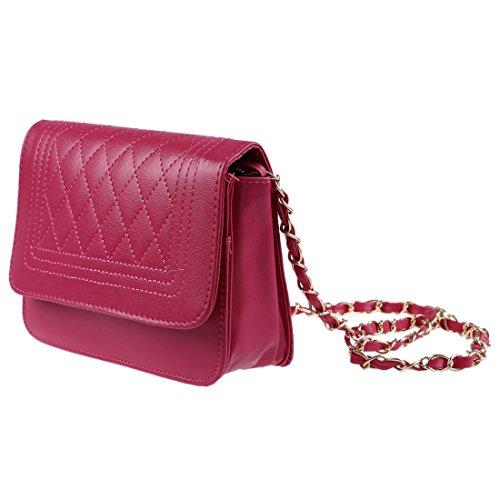 rose Frauen Messenger Schultertasche Leder weiss Frauen R SODIAL Handtasche Taschen Handtaschen Kette rot Frauen wq8CFTx7