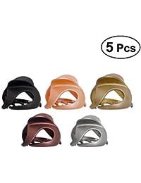 Frcolor - 5 Pinzas para el Pelo para Mujer, acrílico, Esmerilado, con Pasador para el Pelo (Negro + marrón + Gris + Naranja + Caqui)