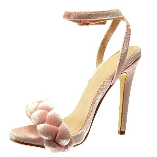Angkorly Damen Schuhe Sandalen Pumpe - Geflochten - String Tanga Stiletto High Heel 12.5 cm Rosa