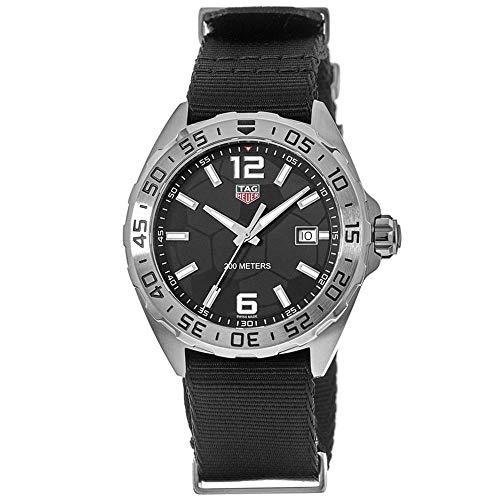 TAG Heuer Homme Bracelet Nylon Noir Quartz Analogique Montre WAZ1015.FC8198
