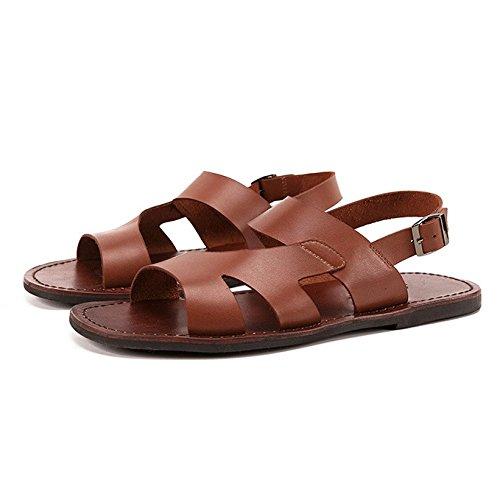 Ycgcm maschi scarpe di cuoio pantofole retrò infradito antiscivolo all'aperto casuale scarpe britanniche,brown-38