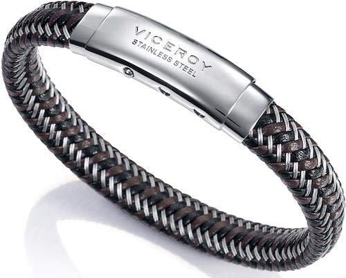 Imagen de pulsera viceroy fashion acero y piel trenzada para hombre 75068p01011