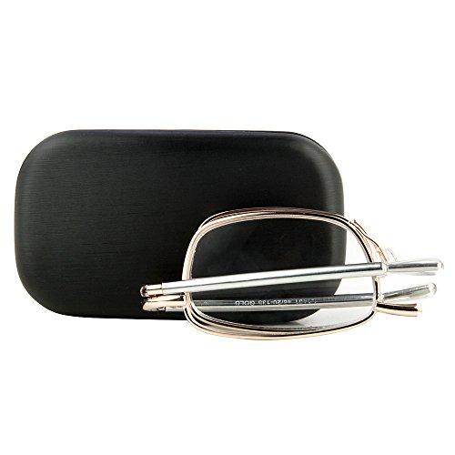 Stylische Lesebrille im Retro-Look mit Goldrand und einem luxuriösen in Italien hergestellten schwarzen Mini-Etui | aalto von eye-spec