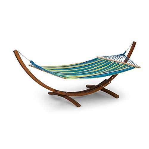 blumfeldt Bali STP Swing Hängematte Schwingliege (Holzgestell aus Lärchenholz, Stoff aus 65% Baumwolle und 35% Polyester, Stylish Comfort, 160kg max. Belastbarkeit, 200x150 cm) gestreift