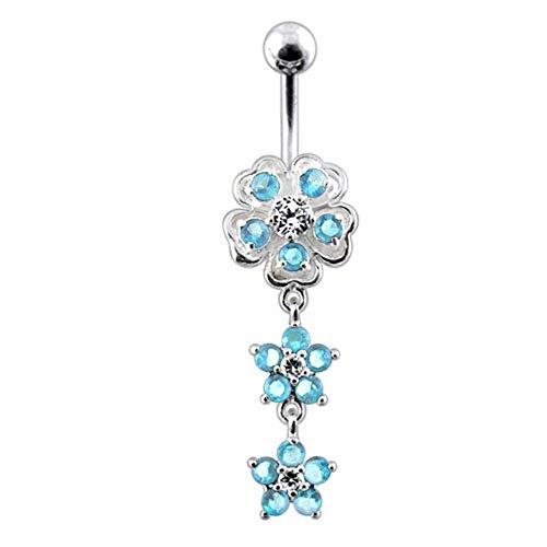 Bijou de corps anneau de nombril motif Fleur fantaisie à pierres avec double fleurs à pierres en Argent Sterling 925 Light Blue