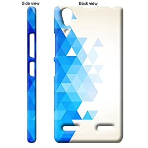 TheGiftKart Triangle Pixel Merge Back Cover Case for Lenovo A6000 Plus - White & Blue