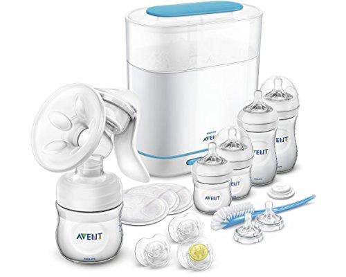 Philips Avent Naturnah Starterset SCD293/00 (Vorteilspack) - Baby-Erstausstattung inkl. Dampfsterilisator, Hand-Milchpumpe, Bürste & Fläschchen