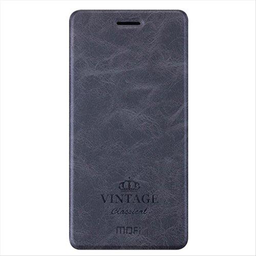 XiaoMi RedMi 4X Hülle - Retro Serie PU Leder Folio Hülle mit Kartenfach, TPU Liner Weich Schutzhülle für XiaoMi RedMi 4X - Schwarz