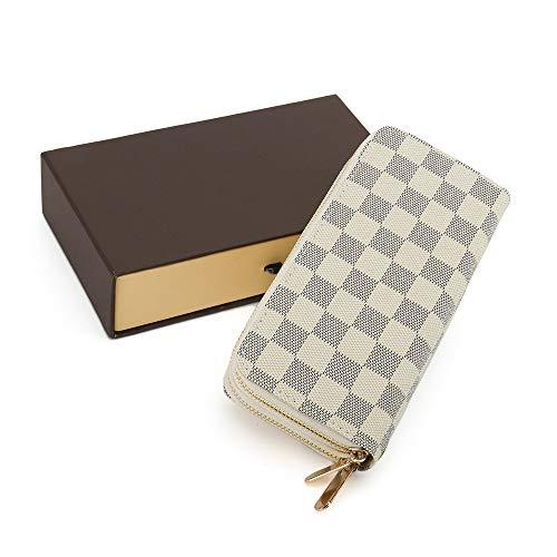 RICHPORTS Damen Geldbörse mit Reißverschluss, RFID-blockierend, mit Kartenfächern, aus veganem Leder - Weiß - Mittel