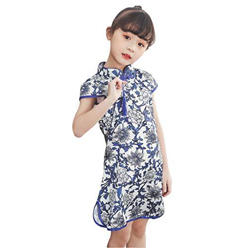Livoral Mädchen Party Prinzessin Kleid Kleinkind Baby Kinder Cheongsam Blumenkleid(Blau,130)