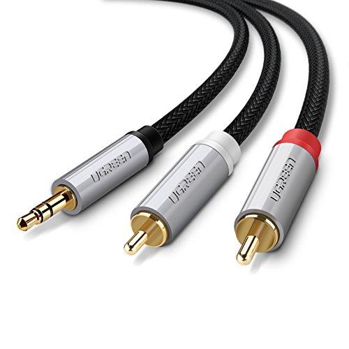 UGREEN 1m Cinch Kabel 3,5mm Klinke auf 2 Cinch Y Stereo Audio Kabel mit Metallstecker 1m Baumwolle Audiokabel für Samsung S8/S8 plus/S7/S7 edge/,iPhone X/8/8plus,Oneplus 5/3T/3/2/1 und LG V20/V30,nylon (Blu-ray-player Iphone)