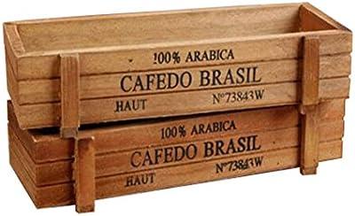 AmgateEu 2 piezas rectangular rústico maceta de madera caja contenedora planta