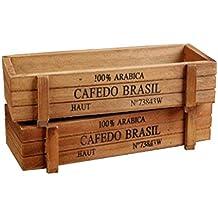 amgateeu piezas rectangular rstico maceta de madera caja contenedora planta