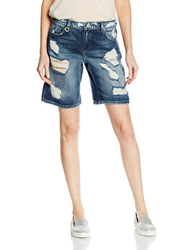ONLY Damen Onlclaudi Bermuda Dest Dnm Shorts Box, Blau (Dark Blue Denim), W31