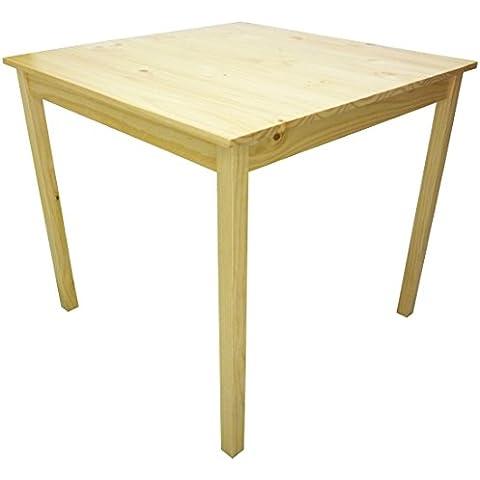 Tavolo tavolino quadrato 80x80 cm in legno lucido naturale per casa salotto