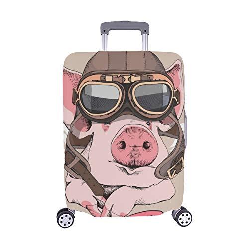 (Nur abdecken) Funny Pig Retro Leder Fliegerhelm Staubschutz Trolley Protector case Reisegepäck Beschützer Koffer Cover 28,5 X 20,5 Zoll